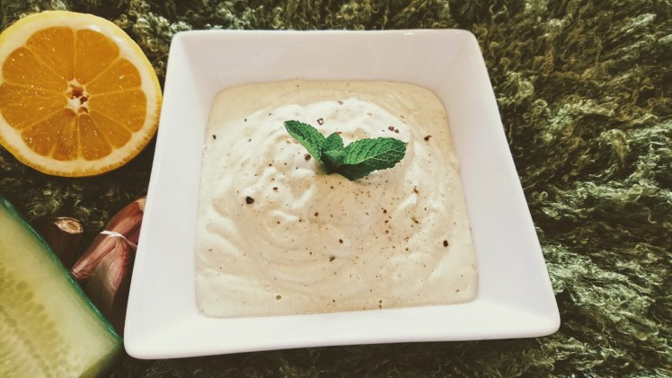 vegan tzatziki sauce in a bowl