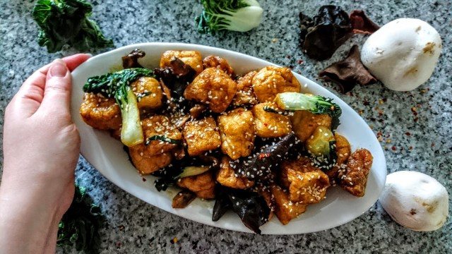 chinese style tofu puffs on serving dish