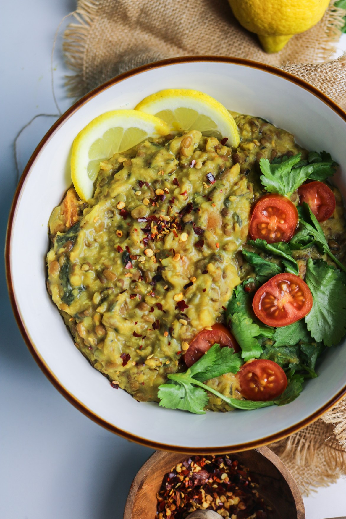 vegan green split lentils dahl half bowl