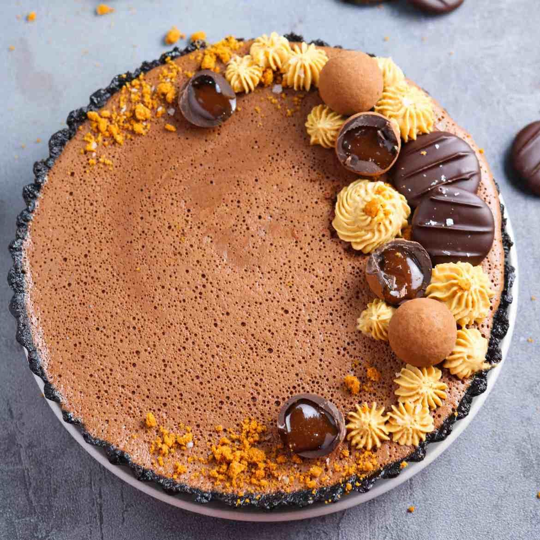 Crostata con Mousse al Cioccolato e Crema Biscoff