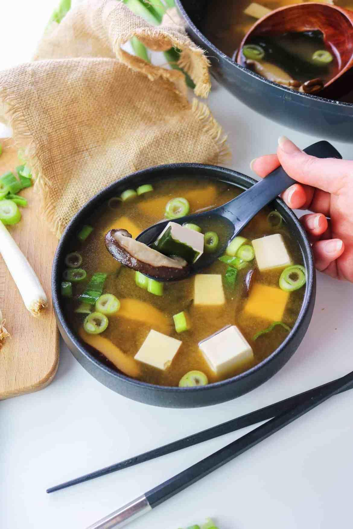 vegan miso soup spoonful