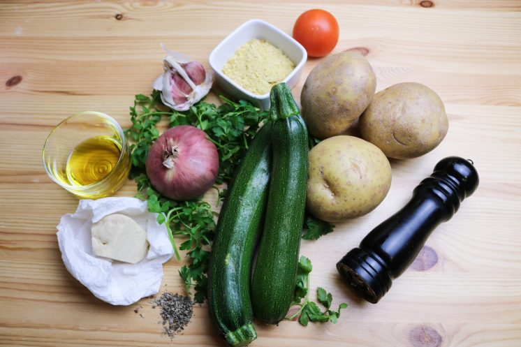 ingredients for courgette and potato bake