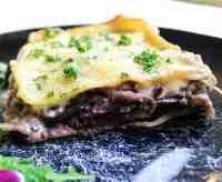 vegan lasagna with radicchio and smoked tofu