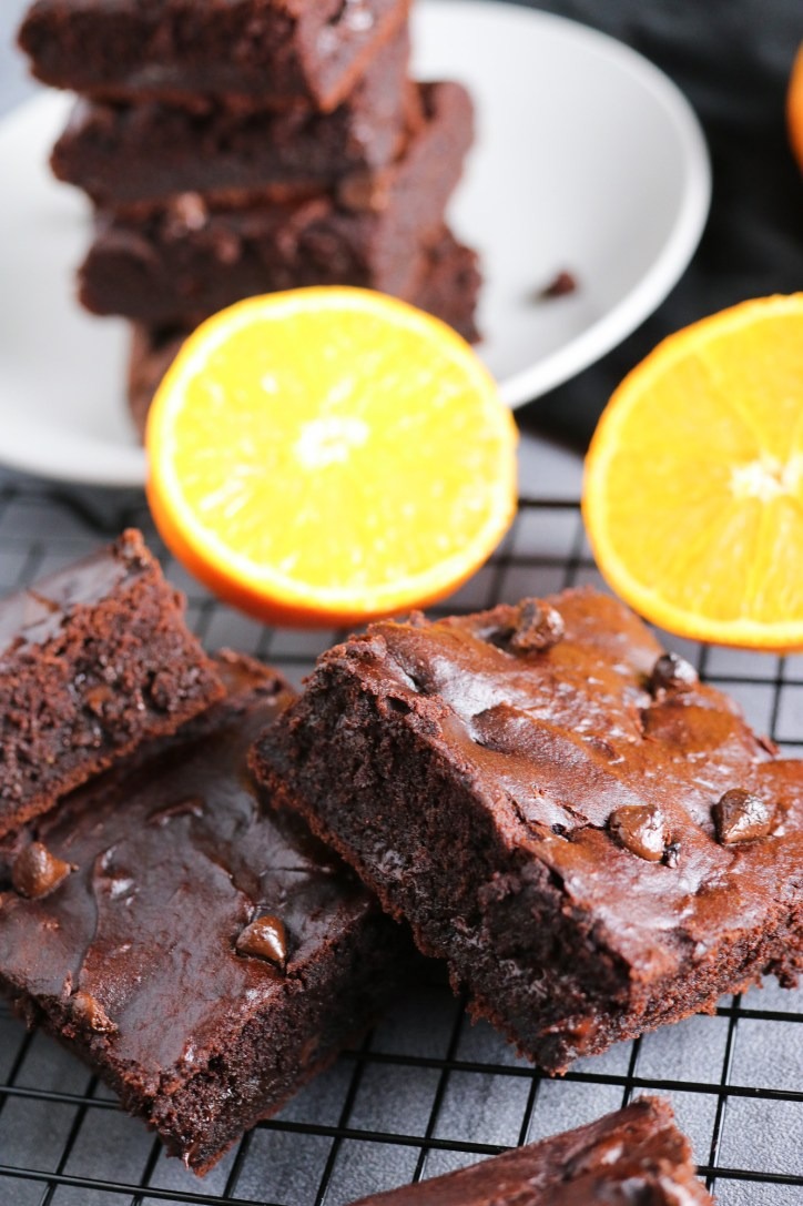 close up of baked Orange & Chocolate Brownies vegan gluten free