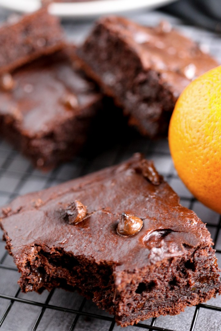 vegan oil free chocolate browines orange and gluten free