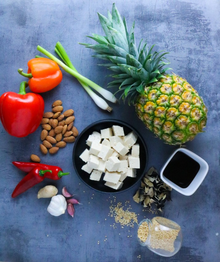 ingredients for Pineapple Tofu with Veggies