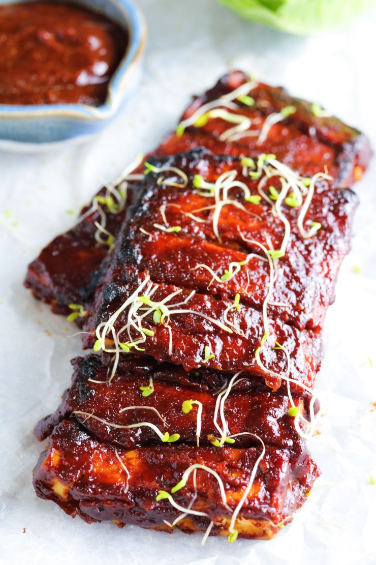 Tofu Ribs with Homemade Spicy BBQ Sauce topped with alpha-alpha sprouts