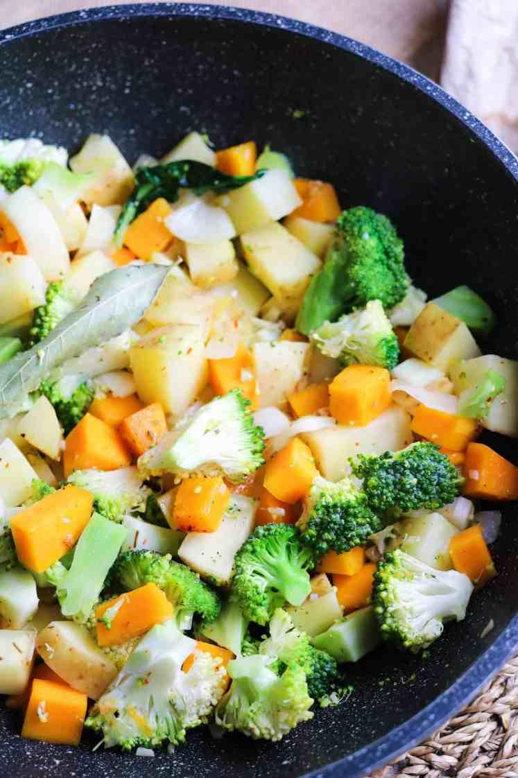 Vegetable stew pre cooking
