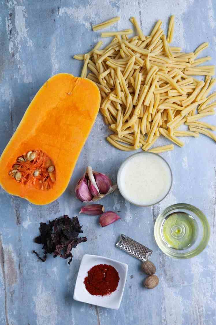 Ingredients to make Butternut Squash Pasta with Crispy Smoked Seaweed