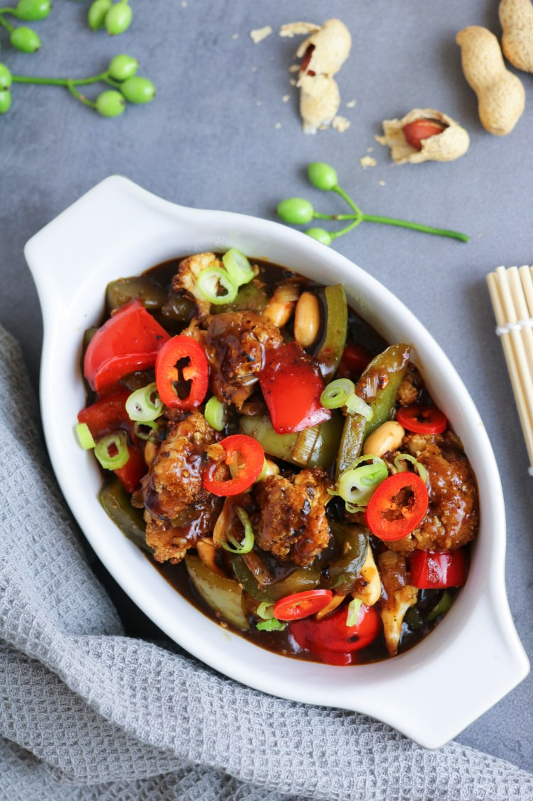 Kung Pao Cauliflower with peanuts and chilli vegan and vegetarian