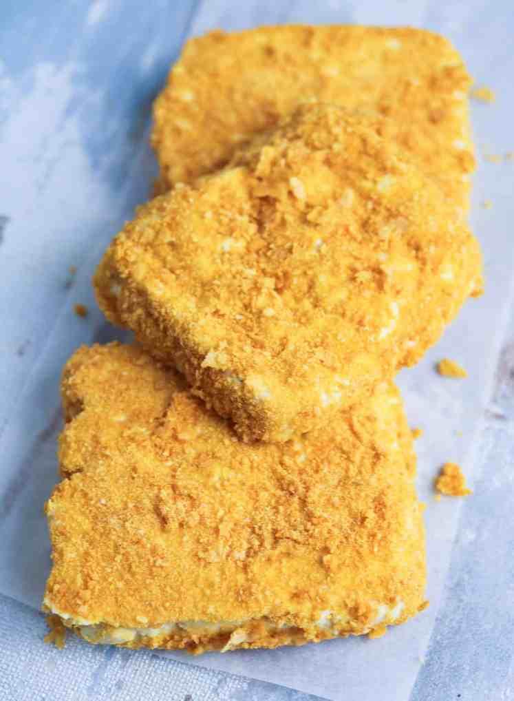 cornflakes coated tofu for Parmesan