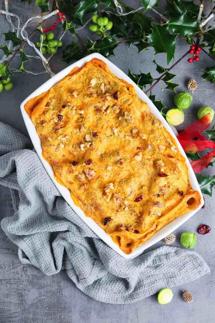 Christmas Butternut Squash Lasagna served