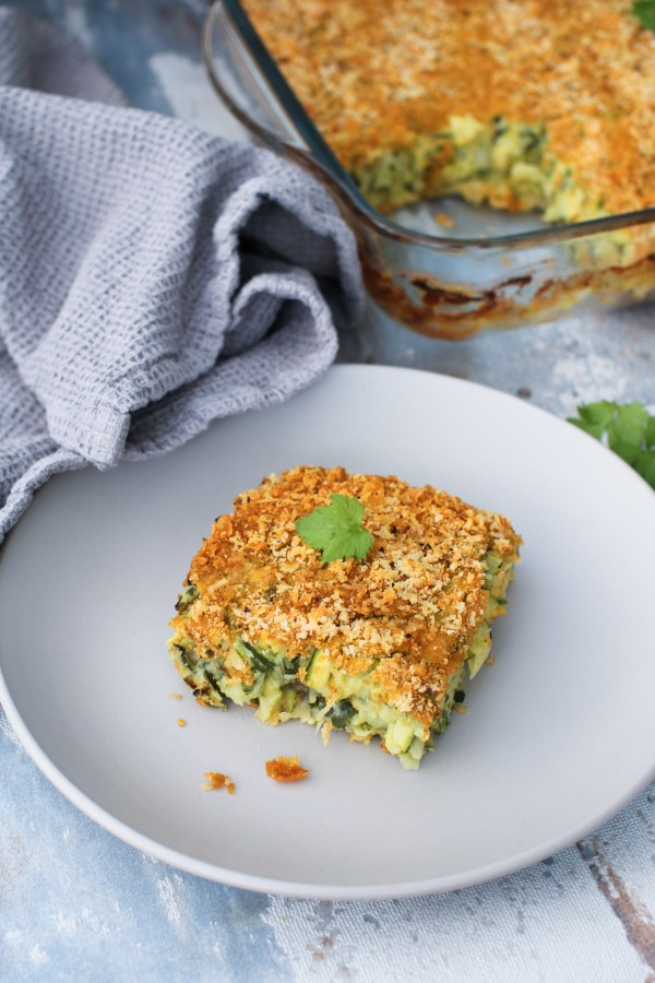 courgette baked frittata slice on a plate close up