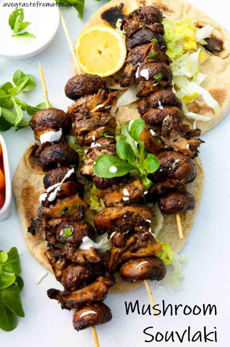 Mushroom Souvlaki Vegan and Gluten Free image for pinterest