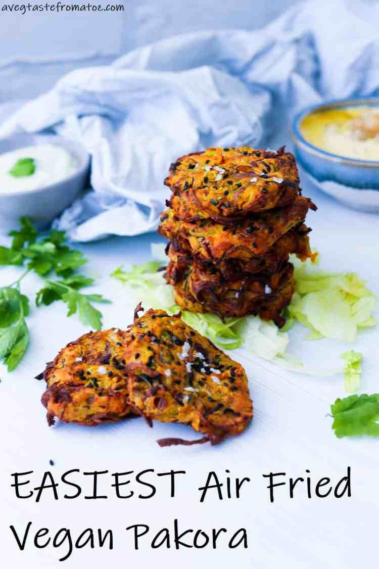 air fried pakora image for pinterest