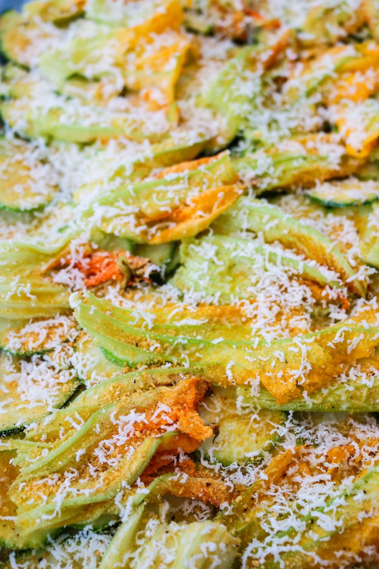 Courgette and Blossom Bake pre bake close up