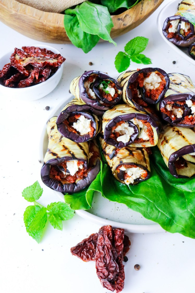Grilled Aubergine Roll Ups