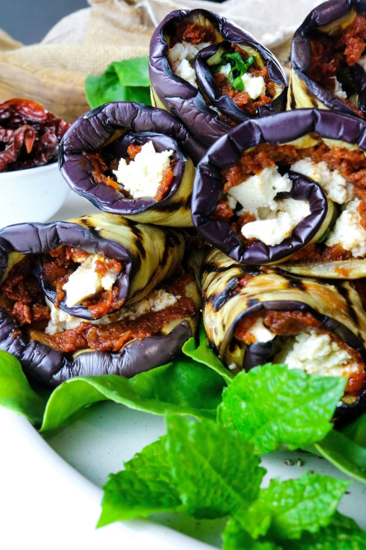 Grilled Aubergine Roll Ups close up
