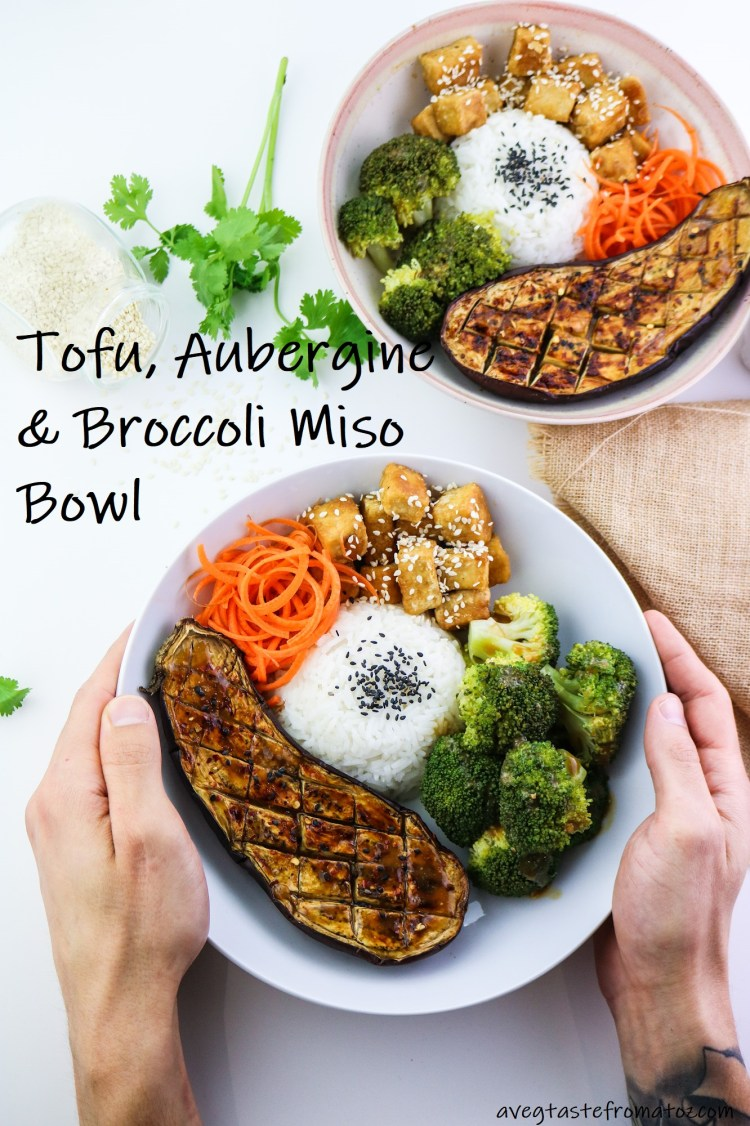 Tofu, Aubergine & Broccoli Miso Bowl picture for pinterest