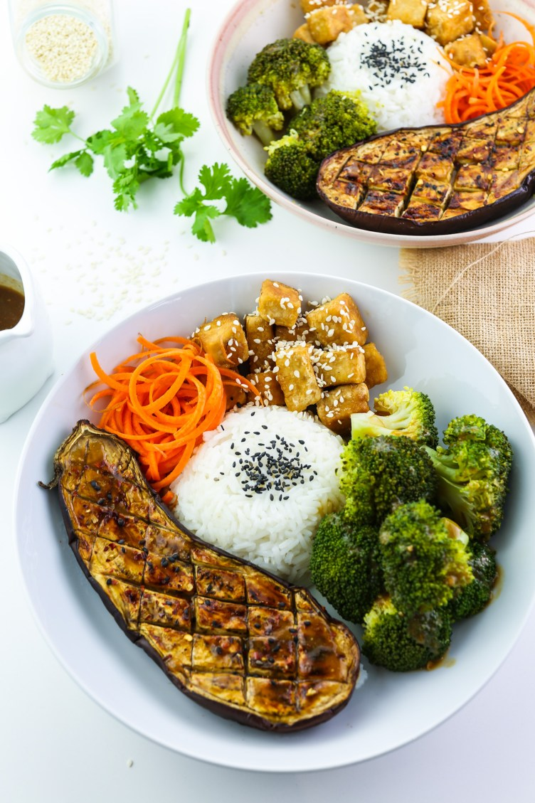 Tofu, Aubergine & Broccoli Miso Bowl two bowls