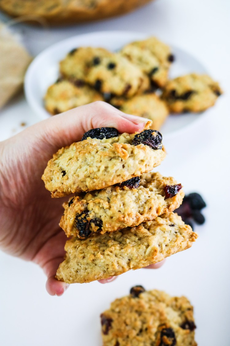 American Style Oat Cookies with Raisin and Cranberry hand holding three cookies
