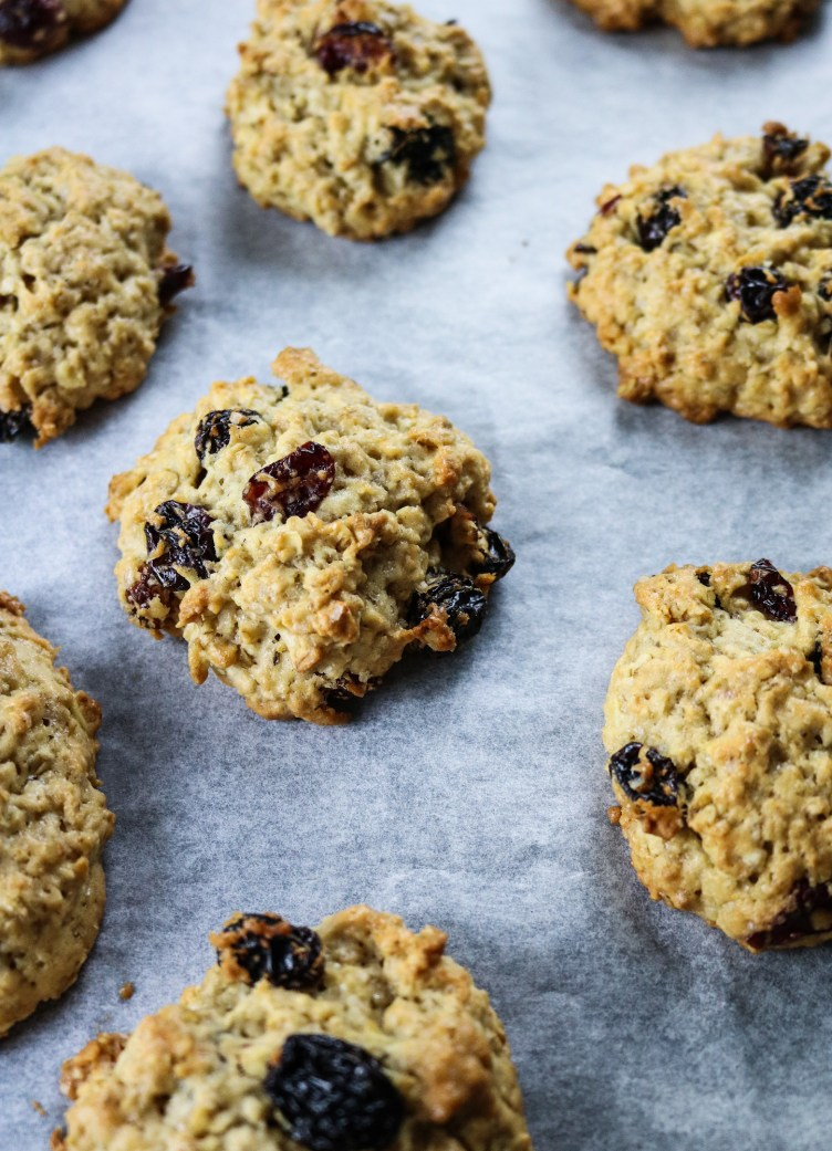 American Style Oat Cookies with Raisin and Cranberry on tray post bake