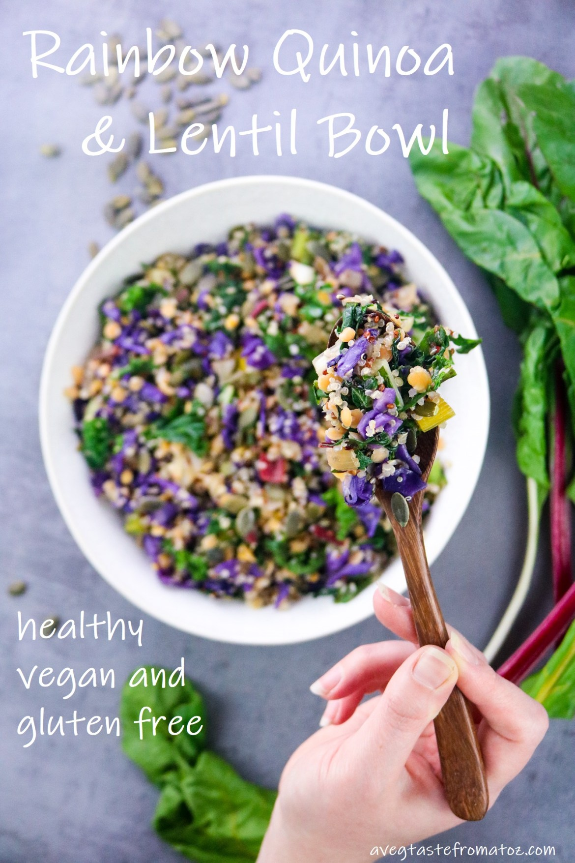 Colorful bowl with quinoa, red lentils, rainbow chards and vegetables on a white plate over a grey background focused on a wooden spoonful of the dish hold by right hand with white text on picture to be shared on pinterest