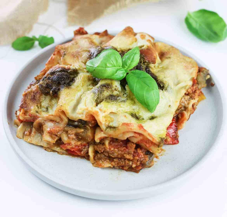 Veggie Lasagna with Pesto and Mozzarella Sauce