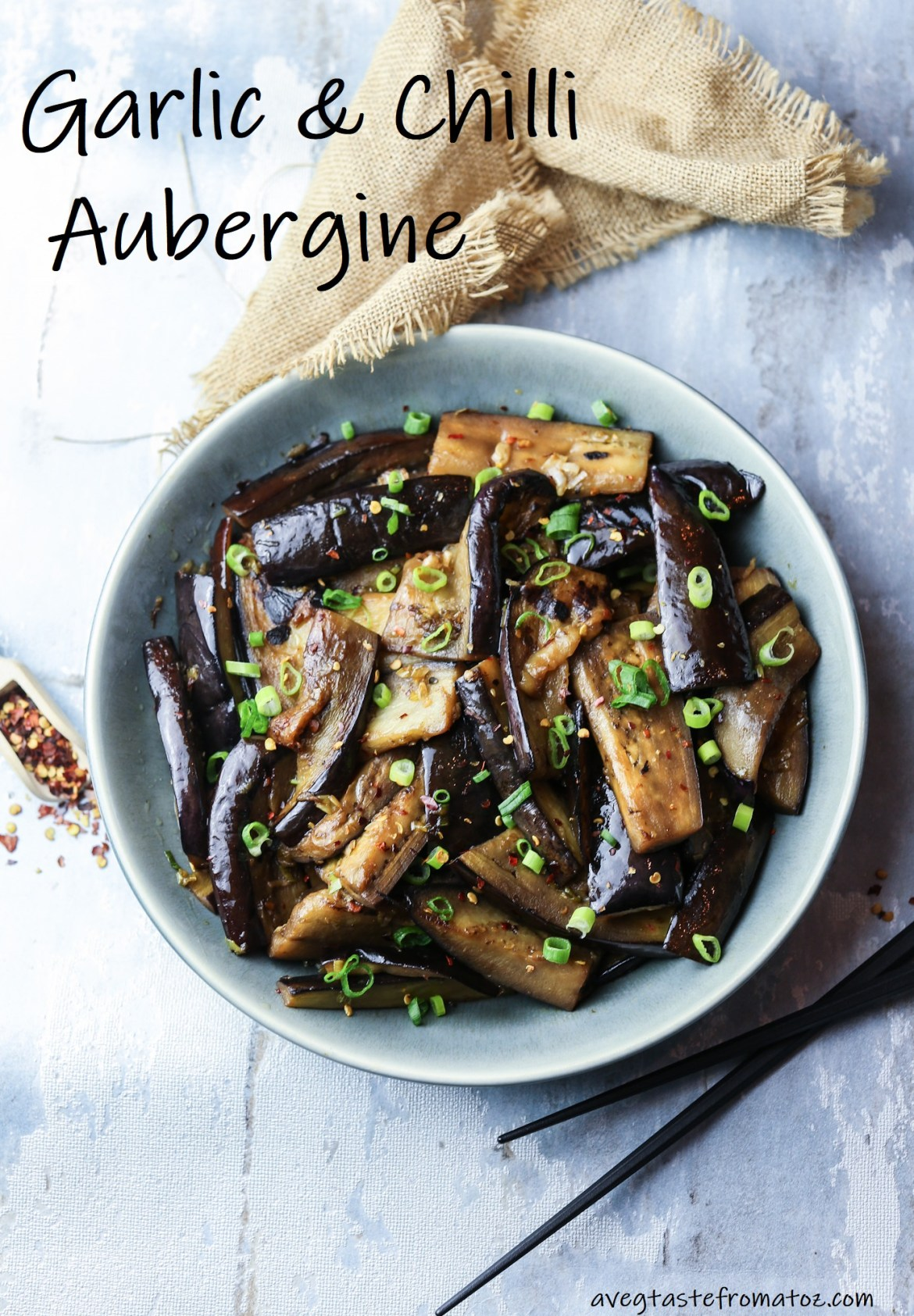 This easy aubergine dish is enriched flavoured with garlic and chilli and makes the perfect Asian-inspired side to vegan noodles or tofu dishes. #asian #chinese #japanese #eggplant #aubergine #glutenfree #vegan #easy #spicy #sidedish #garlic #onion