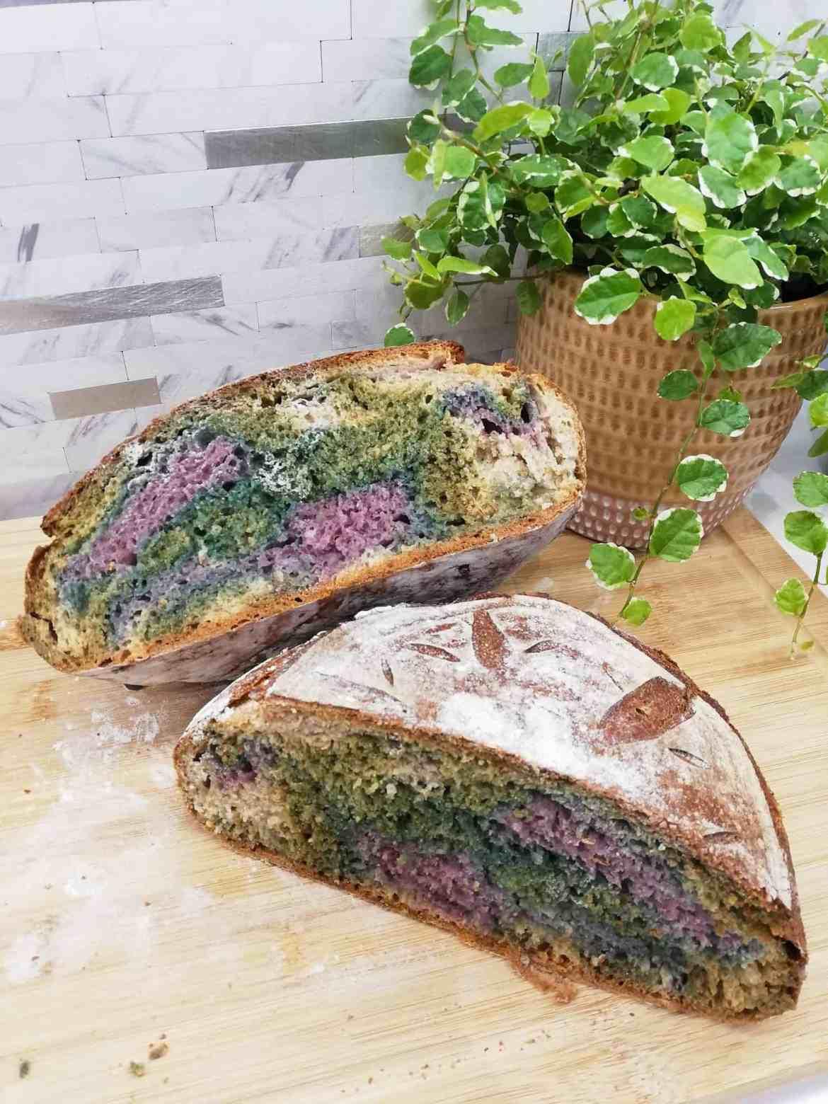 Multicoloured Sourdough Bread cut in half