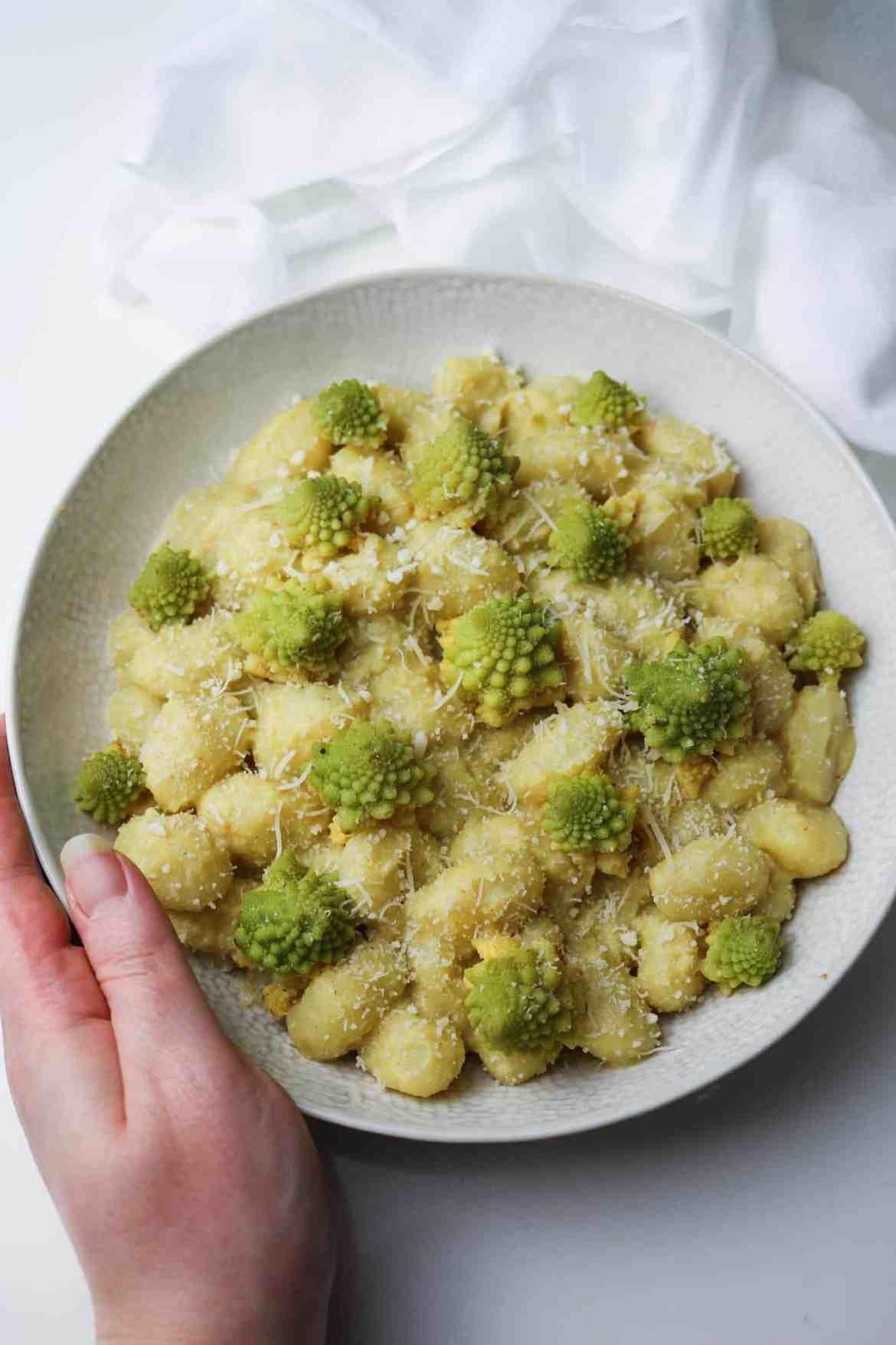 creamy romanesco broccoli gnocchi served