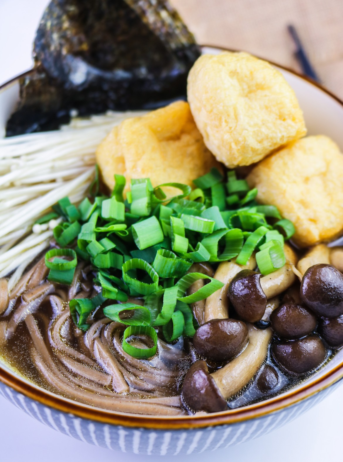 close up Best Vegan Mushroom Soba Ramen