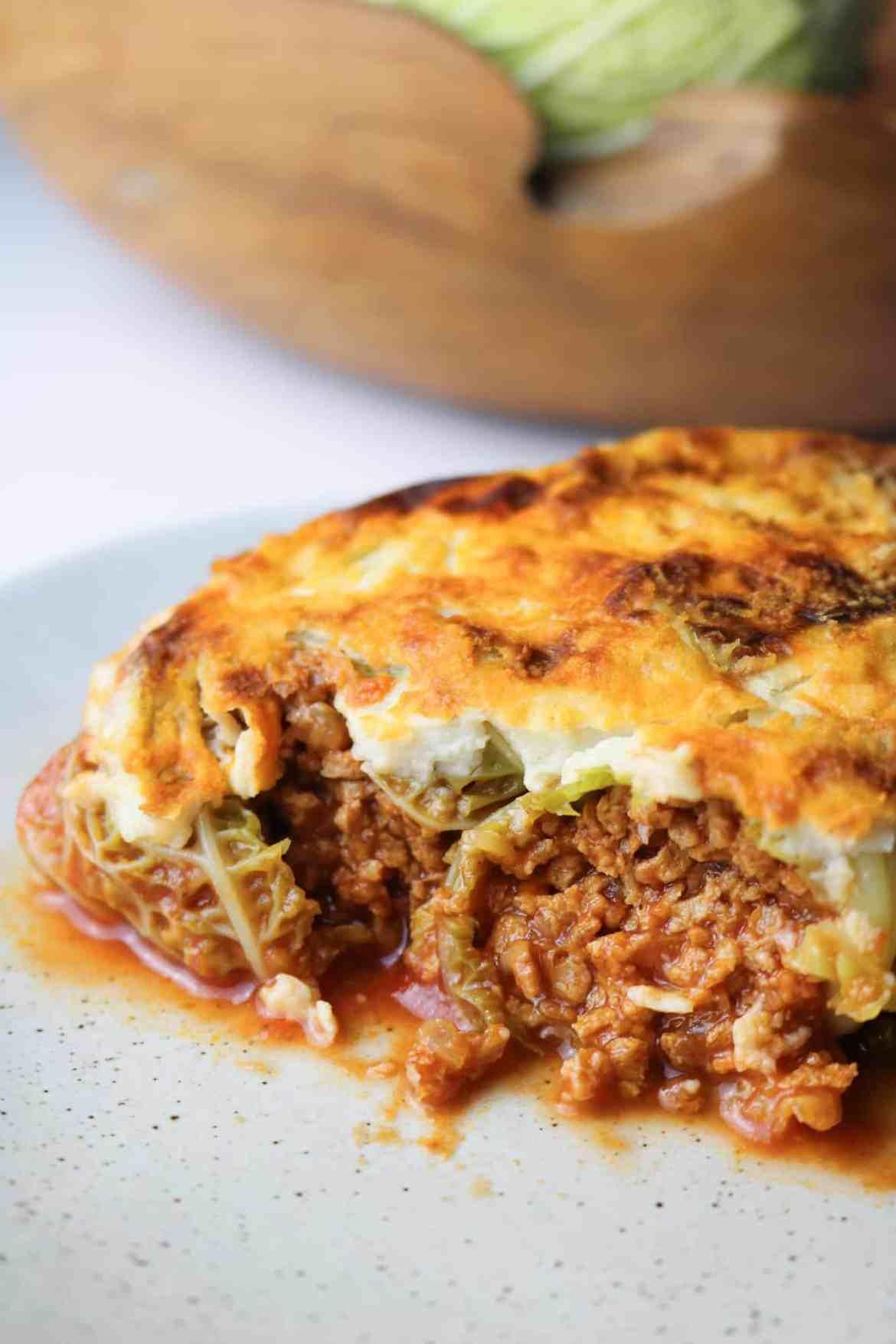 Mince Stuffed Vegan Cabbage Rolls close up
