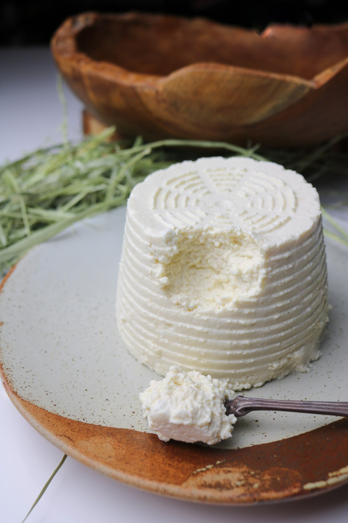 ricotta served on a plate with a spoonful of it closer