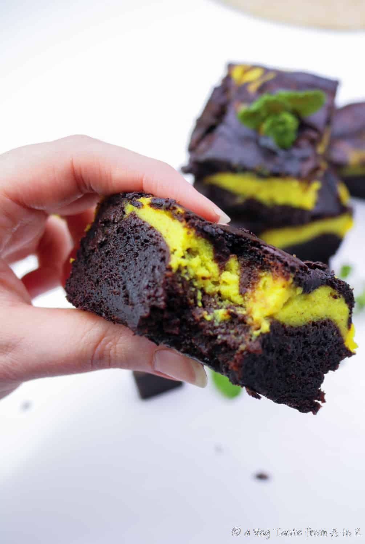 mint chocolate brownie close up bite