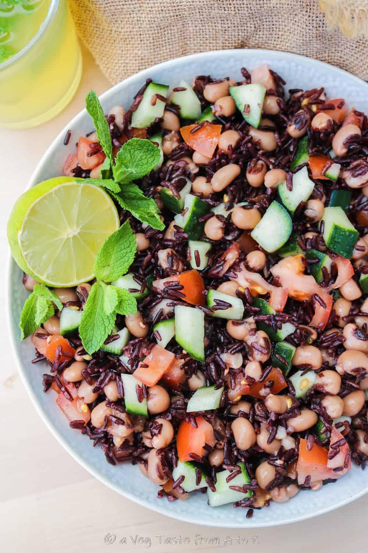 Black Eyed Beans and Black Rice Salad