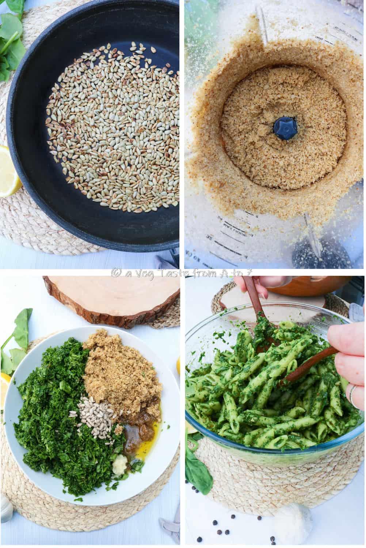 steps for spinach pesto pasta
