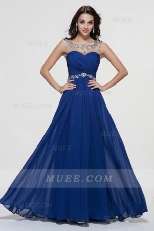 Illusion Neck A-Line Long Royal Blue Chiffon Homecoming Dress