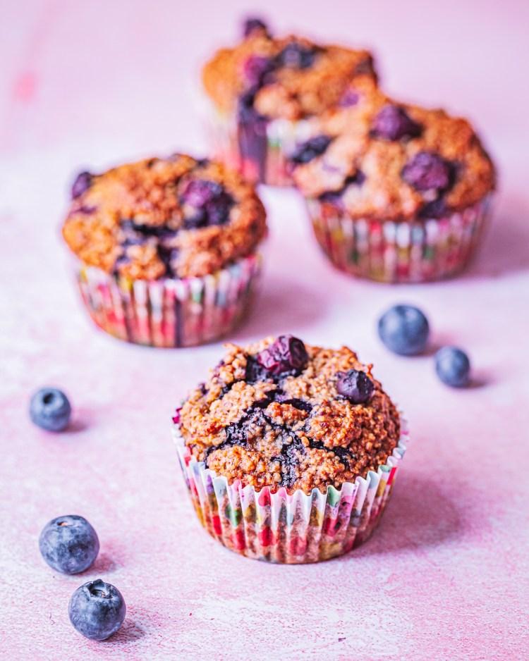 Magdalenas de avena y arándanos: muffins sin azúcar