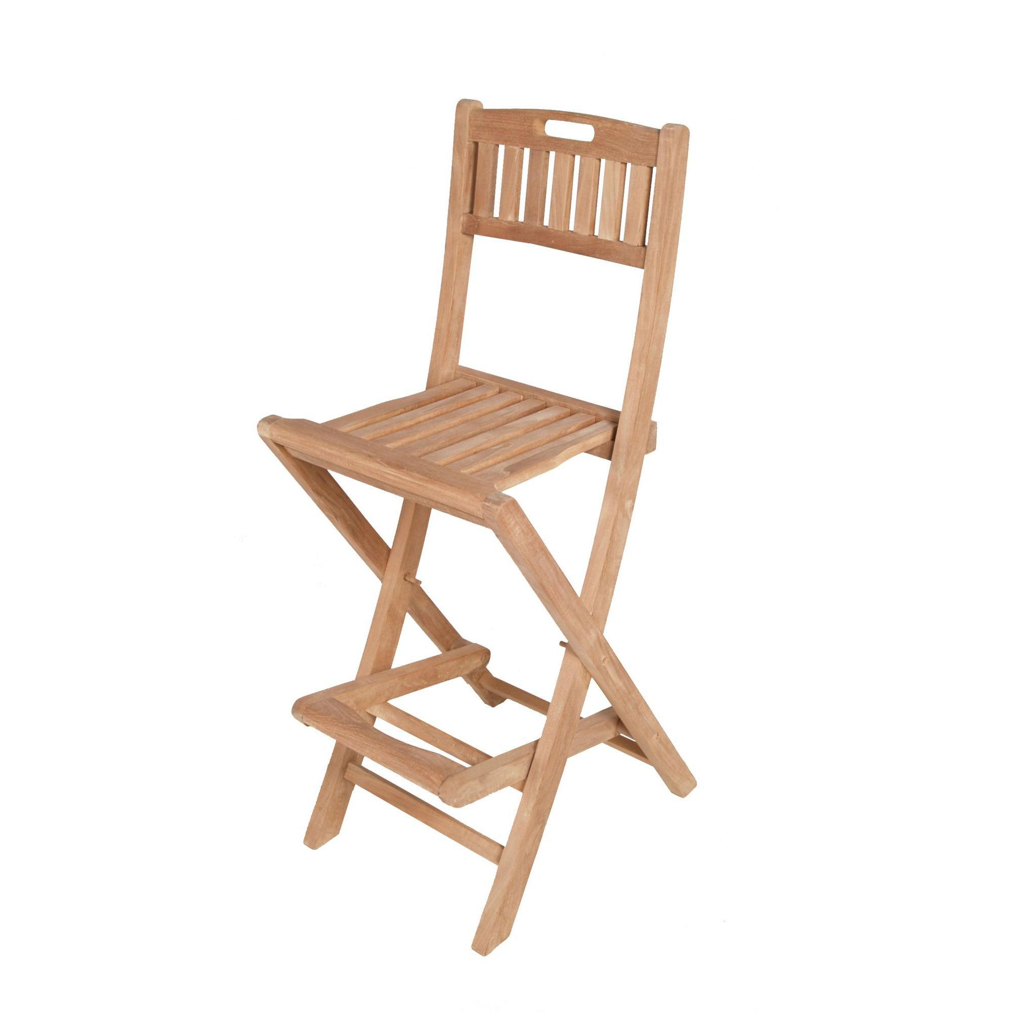 chaise de bar pliante en teck leo