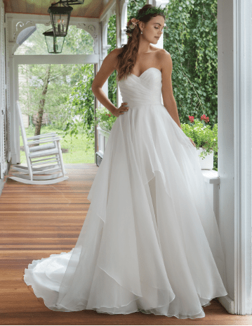 tiered strapless gown