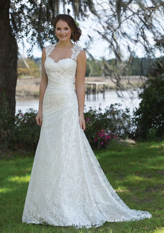 rouched wedding gown