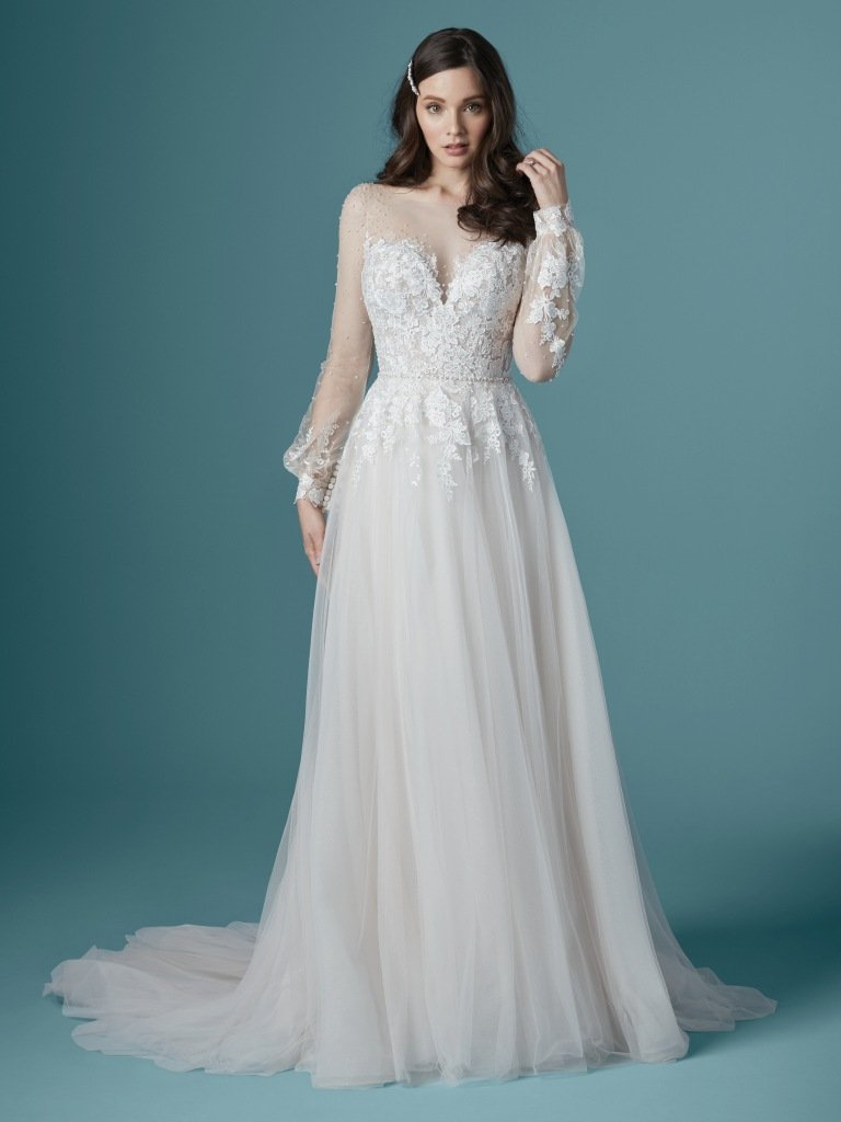 A-line with lace and beading