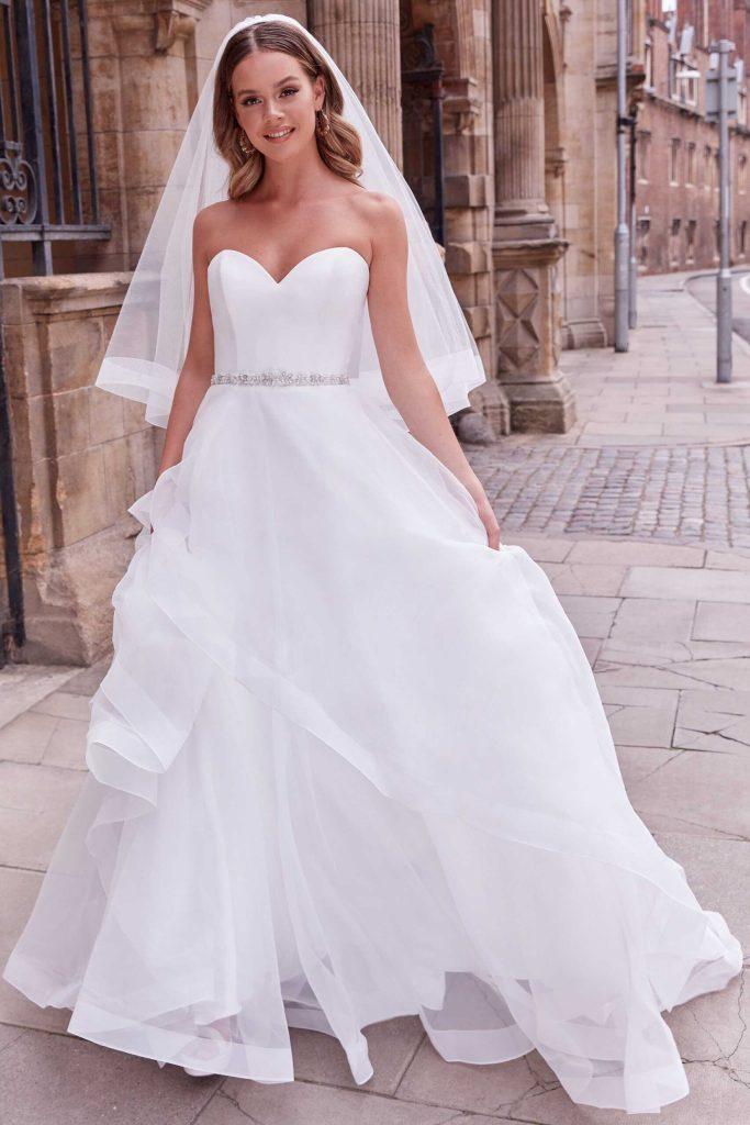 layered strapless dress