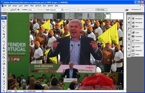 Sócrates e os indianos no photoshop