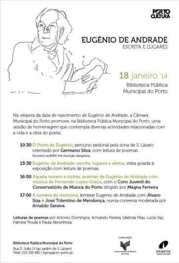 cartaz comemoracoes Eugénio de Andrade
