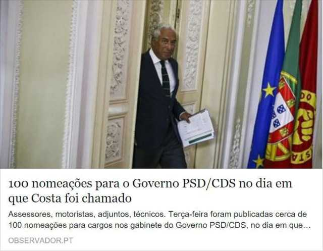 100 nomeacoes para governo PSD CDS