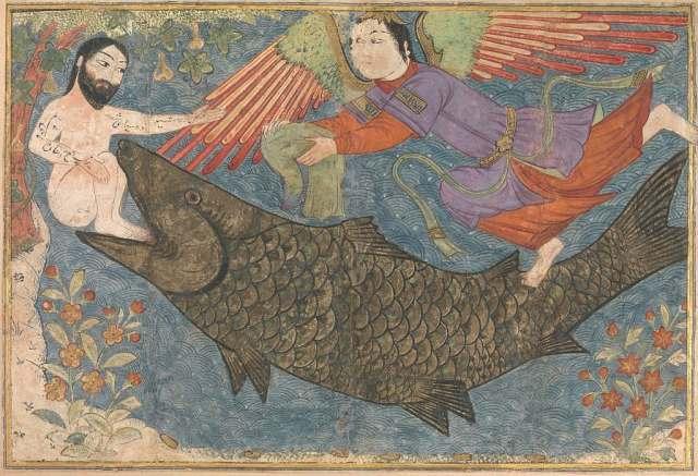 """""""Jonas e a baleia"""", ilustração no """"Jami' al-tawarikh"""" (Pérsia, c. 1400)"""