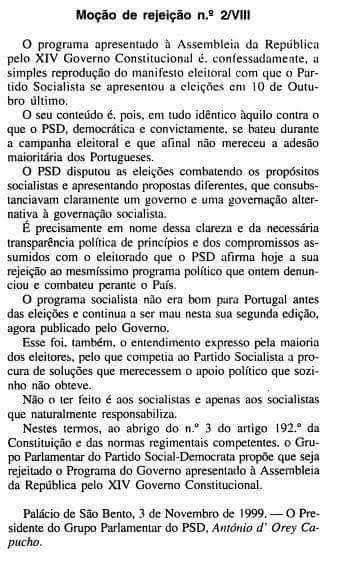 Moçao de Rejeição PSD