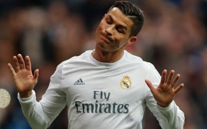 Real Madrid's Cristiano Ronaldo celebrates after scoring a goal during a Spanish La Liga soccer match between Real Madrid and Real Sociedad at the Santiago Bernabeu stadium in Madrid, Spain, Wednesday, Dec. 30, 2015. (AP Photo/Daniel Ochoa de Olza)